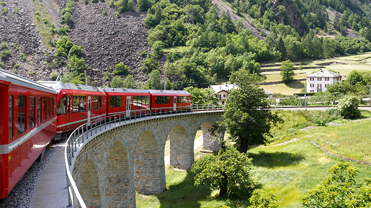 Bernina Panorama Train in Davos, Switzerland